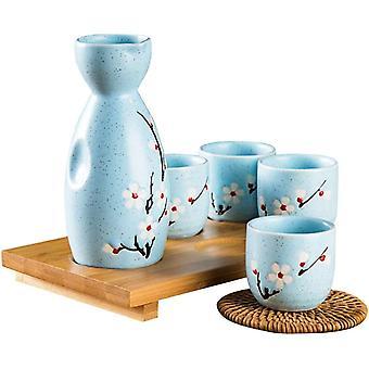 FengChun 5PCS Sake Set Japanisch Sake Flasche Keramik Handgemalte Keramikbecher für Partys Familien
