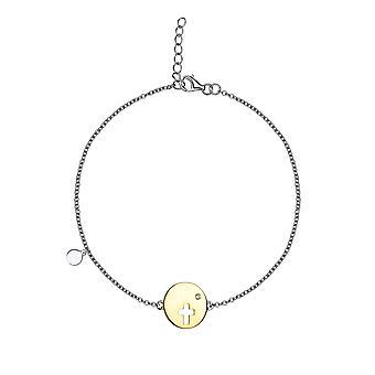 Eudora - Cross Disc Charm Icons Bracelet - 16cm + 2cm extender - Gold - Jewellery Gifts for Women from Lu Bella
