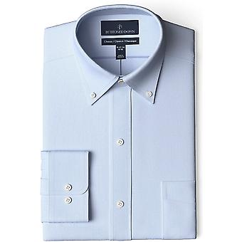 Buttoned Down Men's Standard Classic-fit Button Collar Solid Non-Iron Dress Shirt with Pocket Options