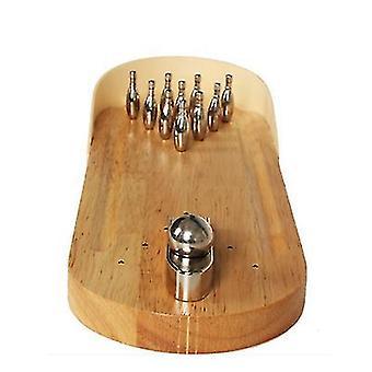 Holztisch Brett Metall Textur Mini Bowling Tisch Spiel az12410