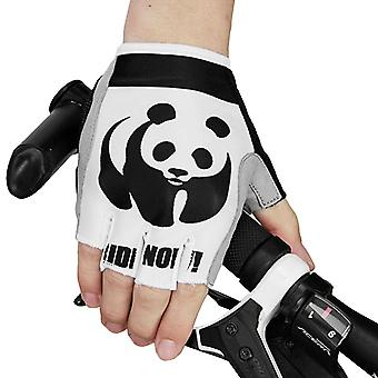 White and black xl men and women outdoor sports cycling half-finger non-slip gloves panda pattern homi4000