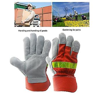 Leather Work Glove Safety Protective Gloves Fire Proof With Reflective Strap