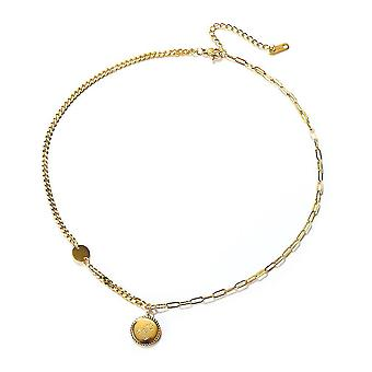 Women Necklace Smiley Face Golden Titanium Steel Clavicle Chain For Ball