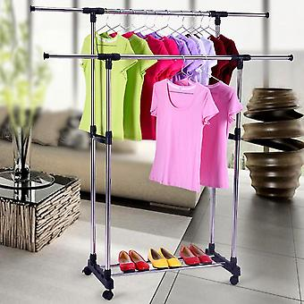 Portable Foldable Stainless Steel Double Layers Clothes Rack Floor Hanger