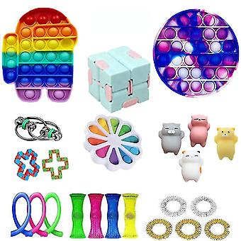 23ks Android Push Pop Bubble Stretchy String Plastic Fidget Toy Stress Relievers Set