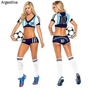Lady Football Baby Sexy Cheerleader Trikot Kostüm Top Shorts Set Spieler Fußball Uniform Kleidung