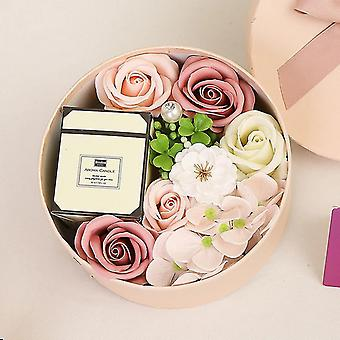 Valentine's Day Diy Soap Flower Candle Gift Rose Box Bouquet Wedding Family Gift|Artificial(pink)