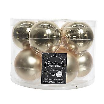 10 6cm Champagne Gold Glass Christmas Tree Bauble Decorations