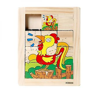 Childrens Early Educational Intelligence Development Nine Wooden Push-pull Educational Toys-(rooster)