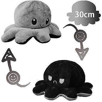 30cm grote omkeerbare octopus knuffel dier omkeerbare gelukkige trieste octopus pluche speelgoed zwart en grijs, toon je stemming zonder een woord te zeggen!