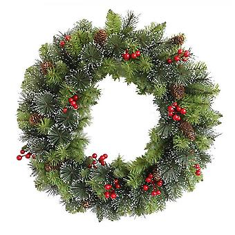 Artificial Christmas Wreath Flocked 24 Inch, Christmas Decorations