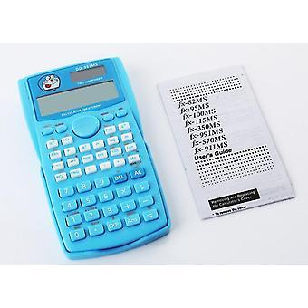 Dessin animé Belle fonction rose Calculatrice portable Affichage numérique Solaire Scientifique (bleu)