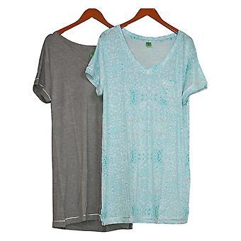 Honeydew Women's Ladies' Short Sleeve Sleep Shirt 2-pack Blue