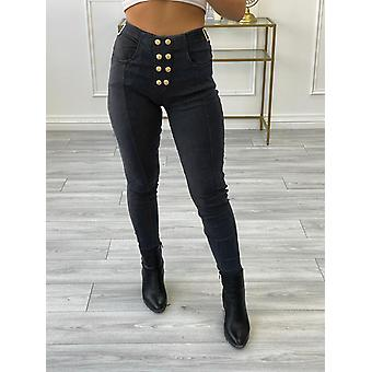 Womens Stretch Jeggings Pants Chino Jeans Look Treggings Skinny Waist Trousers