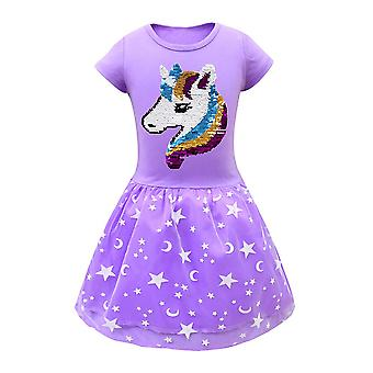 Deti Dievčatá Jednorožec Princezná šaty Narodeninová oslava Ples Swing šaty