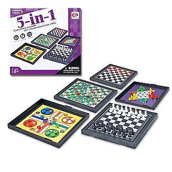 Kuuma myynti 5 in 1 Shakkimiehet Checkers Magneettinen Lauta peli Flying Chess Kids Klassinen Lento Pulmapeli asetettu Ystävä Lapsille Lahja