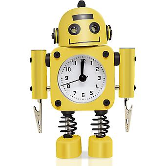 Robot Alarm Clock Stainless Metal - Wake-up Clock With Flashing Eye Lights And Hand Clip(ruby Red)