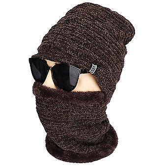 Men Winter Thermal Beanie Hat Fleece Woolly Snood Neck Scarf Cap Set