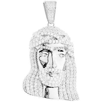 Premium Bling - 925 sterling hopea Jeesuksen pään riipus