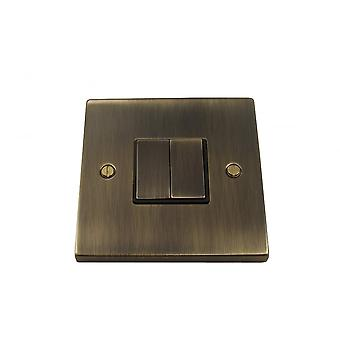 Causeway 2 Gang Ingot Light Switch, Antique Brass