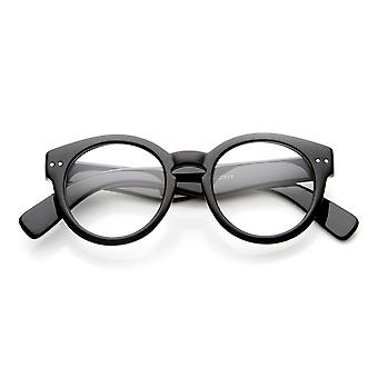 Large Round Horn Rimmed Riveted Clear Fashion Glasses