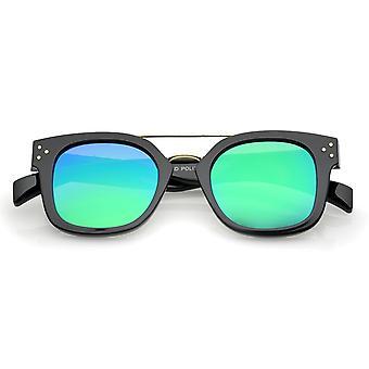 الحديث القرن ريم المعدن العارضة مربعة مسطحة العدسة التي لها نسخ متطابقة الطيار النظارات الشمسية 48 مم