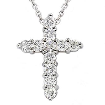 1ct Diamond Cross Pendant 14K White Gold 1