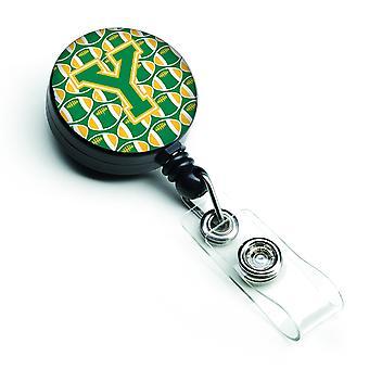 Litera Y piłki nożnej zieleń i złoto bębnowa chowany odznaka