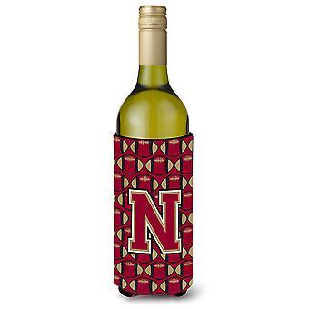 Bokstaven N fotball Garnet og gull vinflaske drikke isolator Hugger