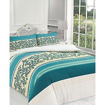 Camilla Floral Lace strepen Print Duvet Cover kanvas afgedrukt beddengoed Set