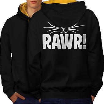 Rawr kissanpentu Funny miesten musta (Gold Hood) kontrasti huppari takaisin | Wellcoda