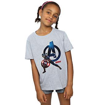 マーベル女の子キャプテン アメリカ ポーズ t シャツ
