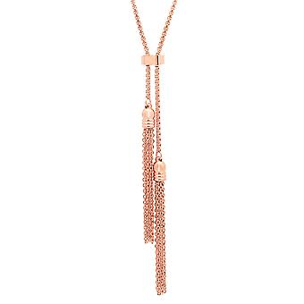 Ladies 18K Rose Gold Plated Stainless Steel Double Tassel Necklace