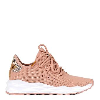 Ash Footwear Stardust Powder Knit Python Embossed Leather Trainer