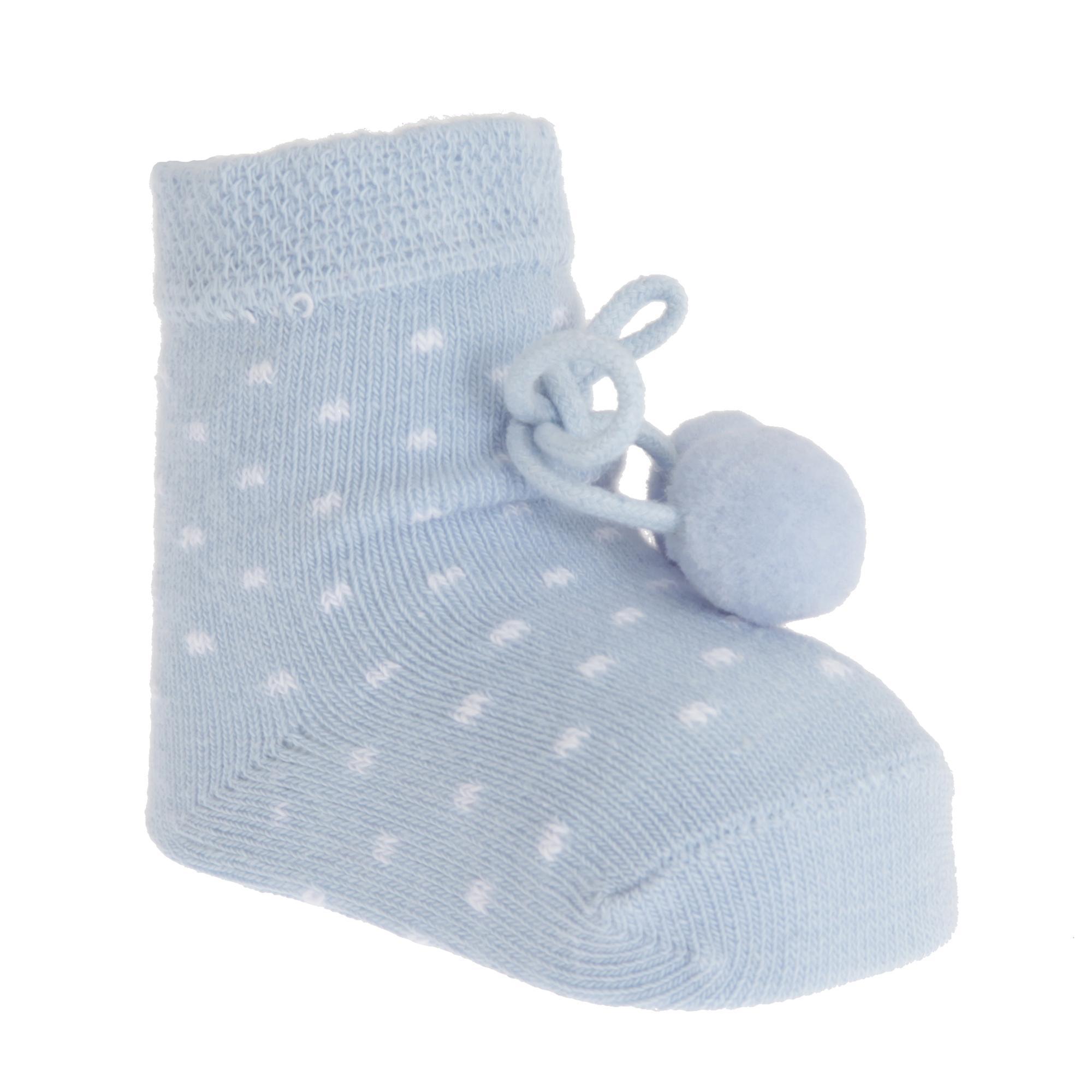 My Little Chick Newborn Baby Boys Socks With Pom Poms