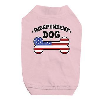 Cane indipendente camicia rosa carino piccolo Pet t-shirt per 4 luglio