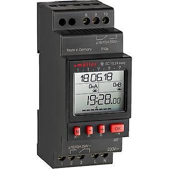 Müller SC 18.24 fácil NFC DIN rail montaje temporizador digital 230 V 16 A/250 V