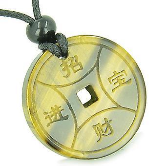 Amulett magische Glücksmünze Fortune Symbole Medaillon Tiger Auge viel Glück ProtectiPendant Halskette