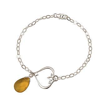 Gemshine Armband Silber Lotus Blume Citrin Quarz Tropfen Goldgelb YOGA