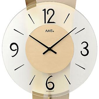 AMS 7427 wall clock pendulum wooden case mineral glass crystal
