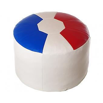 Seat cushion seat stool around France leatherette blue white red of 50 x 50 x 34 cm