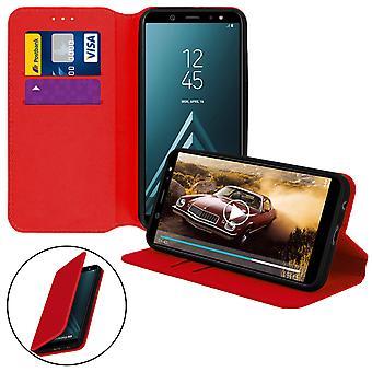 Slim Case, Classic Edition stå tilfelle med kortsporet for Samsung Galaxy A6 - rød
