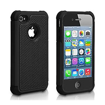 Stuff Certified® For Apple iPhone 4S - Hybrid Armor Case Cover Cas Silicone TPU Case Black