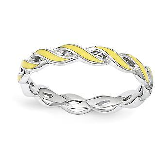 2mm 925 Sterling Zilver gepolijst Rhodium verguld stackable expressies gele emaille ring sieraden geschenken voor vrouwen - Ring