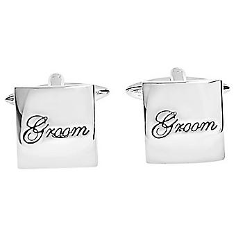 Zennor Groom Text Cufflinks - Silver/Black
