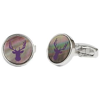Simon Carter Mother of Pearl Stag Cufflinks - Grey/Purple/Silver
