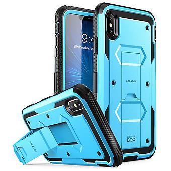 iPhone Xs Max asia [Armorbox] [rakennettu Screen Protector] [Heavy Duty suojan] [Kickstand] osalta (2018) (sininen)