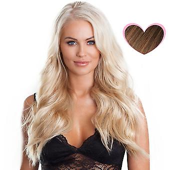 #8/18 leichte Brünette mit goldblond Highlights - Clip-in Hair Extensions - vollen Kopf