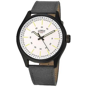 Limiet | Mens | Zwarte nylon riem | Witte wijzerplaat | 5949,01 horloge