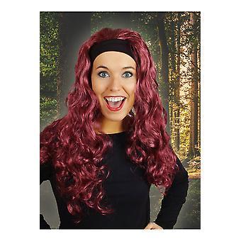 Parrucca parrucche con capelli lunghi e fascia per capelli rosso scuro Jenna